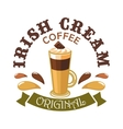 Irish Cream Coffee Cafe emblem vector image
