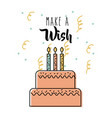 make a wish delicious cake with candles vector image