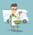 man having barbecue in front of camper van vector image vector image