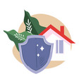 real estate insurance house and shield vector image vector image