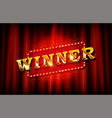 realistic sign winner and congrats vector image vector image