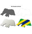 Rio Grande do Norte blank outline map set vector image vector image
