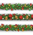 set three christmas garlands from fir or pine vector image vector image
