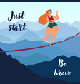 slackliner blonde girl in the mountains balancing vector image