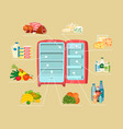 space organization in freezer flat design concept vector image vector image