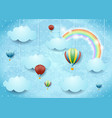 surreal cloudscape with hot air balloons and vector image