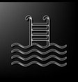 swimming pool sign gray 3d printed icon vector image vector image