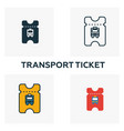 transport ticket outline icon thin style design vector image vector image