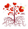 tree with hearts isolated on white background vector image vector image