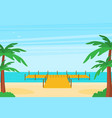 tropical ocean landscape with wooden dock vector image vector image