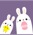 two rabbit bunny friends holding painting egg vector image vector image