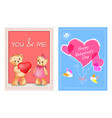 valentines day postcards with bears and hearts vector image