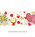 valentines day sale banner background hearts vector image