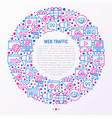 web traffic concept in circle with thin line icons vector image vector image
