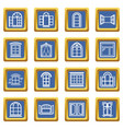 window design icons set blue square vector image vector image