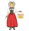 Young cartoon woman in Swiss national costume vector image