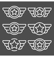 Set of the white emblems with wings vector image