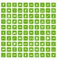 100 hi-tech icons set grunge green vector image vector image
