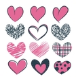 A set of hearts hand drawn vector image