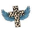 animal print cross whit wings