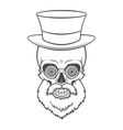 bearded skull with hypnotic grasses and top hat vector image