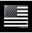 Black and White American Flag Square Icon vector image vector image
