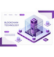 blockchain technology landing page template vector image vector image