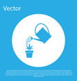 blue watering can sprays water drops above vector image vector image
