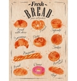 Bread products poster kraft vector image