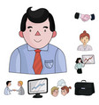 business conference and negotiations cartoon icons vector image vector image