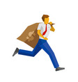 businessman running with big money bag vector image vector image