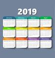 calendar 2019 year design template week vector image vector image