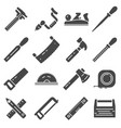 carpentry industry equipment icons flat set vector image vector image