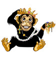 cartoon chimpanzee playing with jewelry vector image vector image