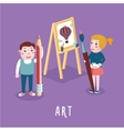 Children drawing Boy and girl studing in an art vector image vector image
