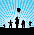 children play in nature silhouette colorful vector image