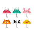 collection various cute umbrellas with animals vector image vector image