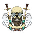 color hipster skull vector image vector image