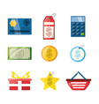 colorful set icon shopping concept vector image vector image