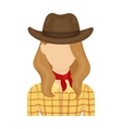Cowgirl icon in cartoon style isolated on white vector image vector image