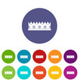 crown icons set flat vector image vector image