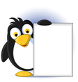 cute little penguin cartoon holding blank sign vector image vector image