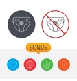 Diaper with flower icon Child underwear sign vector image