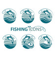 fishing emblems set vector image vector image