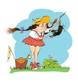 Girl naturalist studying the rat vector image vector image