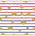 gold heart seamless pattern red-blue-white vector image vector image