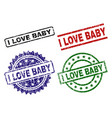grunge textured i love baby seal stamps vector image