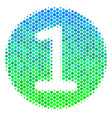 halftone blue-green one coin icon vector image vector image