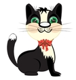Kitty with small bow vector image vector image