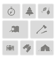 monochrome set with camping icons vector image